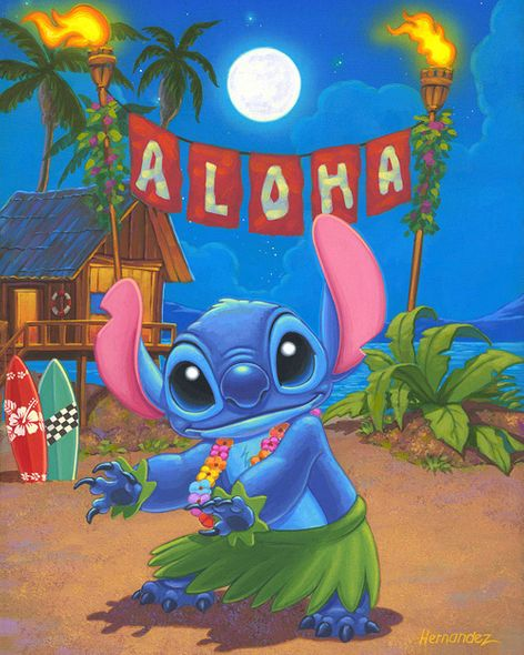 """Manuel Hernandez Signed and Numbered Limited Edition Giclée on Canvas:""""Hula Stitch"""""""