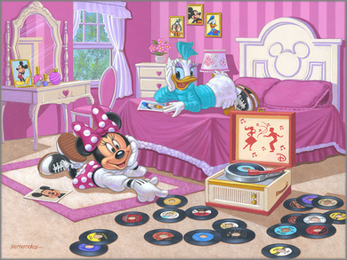"""Manuel Hernandez Signed and Numbered Limited Edition Giclée on Canvas:""""Minnie and Daisy's Favorite Tune"""""""
