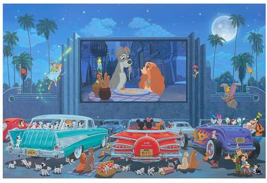 """Manuel Hernandez Signed and Numbered Limited Edition Hand-Embellished Giclée on Canvas:""""A Night at the Movies"""""""
