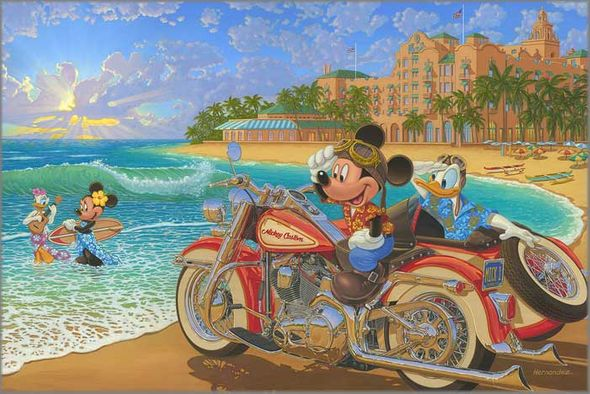 """Manuel Hernandez Signed and Numbered Limited Edition Hand-Embellished Giclée on Canvas:""""Where the Road Meets the Sea"""""""