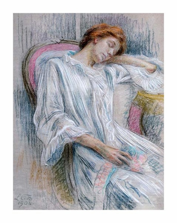 """Marie Louise Catherine Breslau Fine Art Open Edition Giclée:""""A Young Woman Asleep in a Chair"""""""