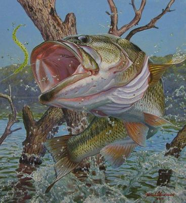 Mark A Susinno Original Acrylic Painting To Throw The Hook Largemouth Bass Mark A Susinno