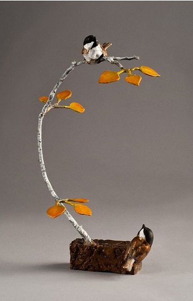 """Mark Hopkins Limited Edition Bronze Sculpture:""""Oh, there you are! Chickadee"""""""