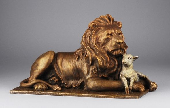 """Mark Hopkins Limited Edition Bronze Sculpture:""""The Lion and The Lamb (Lg)"""""""