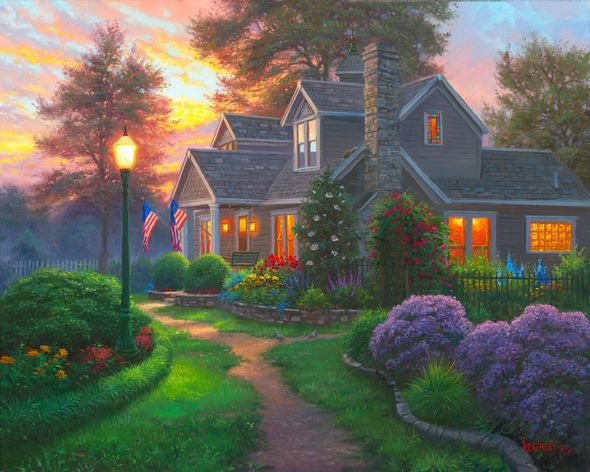 "Mark Keathley Artist Signed Limited Edition Embellished Canvas Giclee:""Let Your Light Shine"""