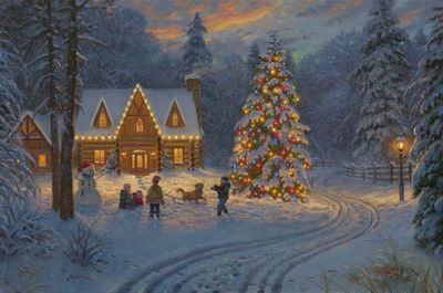 Smoky Mountain Christmas.Mark Keathley Artist Signed Limited Edition Embellished Canvas Giclee Release Smoky Mountain Christmas