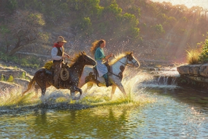 """Mark Keathley Hand Signed and Numbered Limited Edition Embellished Canvas Giclee:""""Companions"""""""