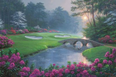 "Mark Keathley Hand Signed and Numbered Limited Edition Embellished Canvas Giclee:""Dreams of Green"""