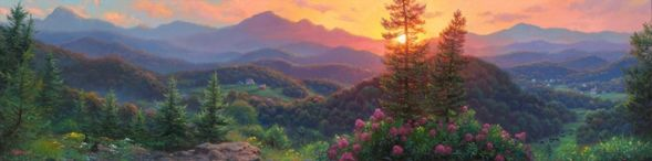 "Mark Keathley Hand Signed and Numbered Limited Edition Embellished Canvas Giclee:""Evening Overlook"""