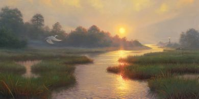 "Mark Keathley Hand Signed and Numbered Limited Edition Embellished Canvas Giclee:""Sunset on the Marsh"""