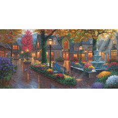 """Mark Keathley Hand Signed and Numbered Limited Edition Hand Embellished Canvas Giclee:""""Village Evening"""""""