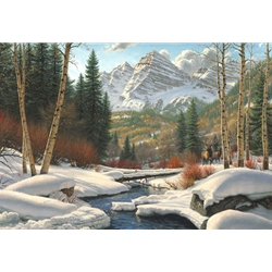 "Mark Keathley Handsigned and Numbered Limited Edition Hand Embelished Canvas Giclee:""Winter Retreat"""
