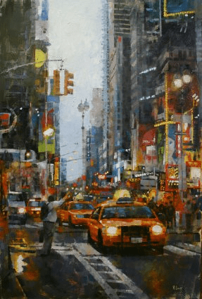 "Mark Lague Handsigned and Numbered Limited Edition Giclee on Canvas:""Hailing a Cab"""