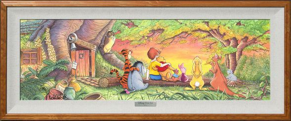 """Disney Framed Limited Edition Canvas Giclee:""""Sunset in the Woods"""" by Michelle St.Laurent"""