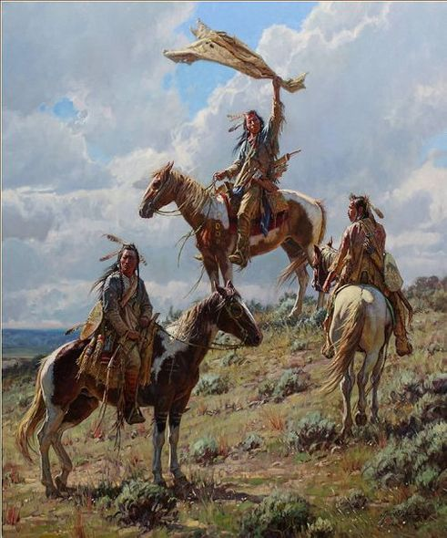 """Martin Grelle Hand Signed and Numbered Limited Canvas Giclee:""""Apsaalooke Signal Maker"""""""