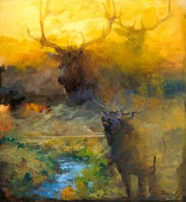 "Mary Roberson Handsigned & Numbered Limited Edition Giclee on Paper:""Elk at the Yellowstone"""