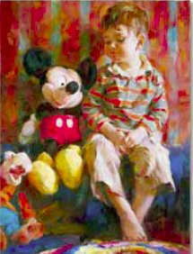 "Michael and Inessa Garmash Handsigned and Numbered Embellished Giclee on Canvas:""Playtime Pals"""