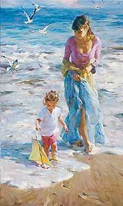 """Michael and Inessa Garmash Handsigned and Numbered Embellished Giclee on Canvas:""""Precious Moments"""""""