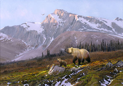 """Michael Coleman Hand Signed & Numbered Limited Edition Giclee on Paper:""""Alaskan Dawn - Grizzly Family"""""""