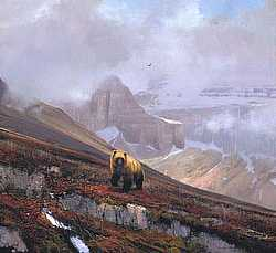 """Michael Coleman Handsigned & Numbered Giclee Limited Edition Print:""""In The Canadian Rockies-Grizzly"""""""