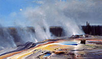 """Michael Coleman Handsigned & Numbered Giclee Limited Edition Print:""""Morning at Geyser Basin"""""""