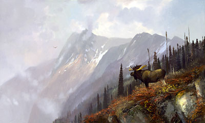 """Michael Coleman Handsigned & Numbered Giclee Limited Edition Print:""""On the Halfway - Moose"""""""