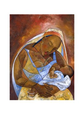 """Michael Escoffery Limited Edition Signed Giclee Ed. 100:""""Mother and Child"""""""