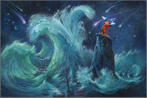 """Michael Humphries Hand Signed and Numbered Limited Edition Canvas Giclee:""""Mickey Creates the Magic"""""""