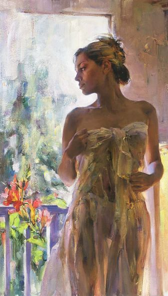 "Michael & Inessa Garmash Hand Signed and Numbered Embellished Limited Edition Giclee on Canvas:""Rare Beauty"""