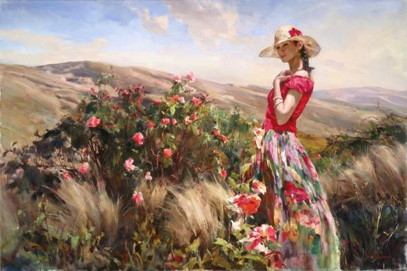 """Michael & Inessa Garmash Hand Signed and Numbered Limited Edition Embellished Giclee on Canvas:""""Local Color"""""""