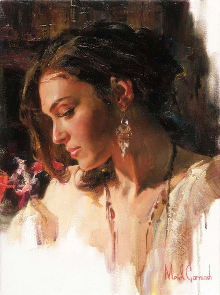 "Michael & Inessa Garmash Hand Signed and Numbered Limited Edition Embellished Giclee on Canvas:""Solemn Beauty"""