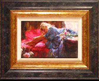 "Michael & Inessa Garmash Handsigned and Numbered Framed Limited Edition Giclee on Canvas:""Waking Up To Flowers """