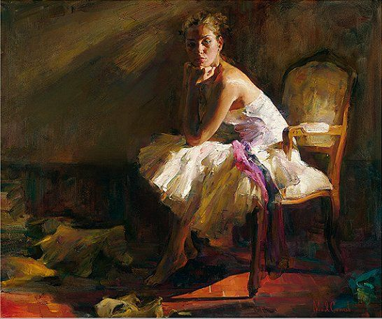 "Michael & Inessa Garmash Handsigned and Numbered Limited Edition Pallet Knife Textured Giclee on Canvas: ""Contemplation"""