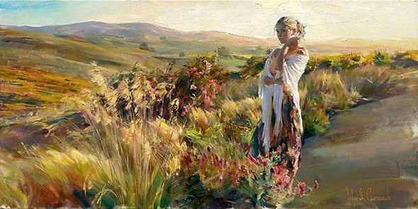 """Michael & Inessa Garmash Handsigned and Numbered Limited Edition Pallet Knife Textured Giclee on Canvas: """"Promise"""""""
