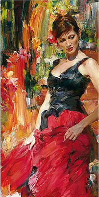 """Michael & Inessa Garmash Handsigned and Numbered Limited Edition Pallet Knife Textured Giclee on Canvas: """"Radiance"""""""