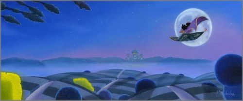 """Michael Provenza Hand Signed and Numbered Limited Edition Embellished Canvas Giclee:""""Moon Over Agrabah"""""""