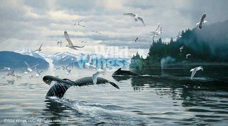 """Michael Sieve Handsigned and Numbered Limited Edition Print: """"Sounding-Humpbacks"""""""