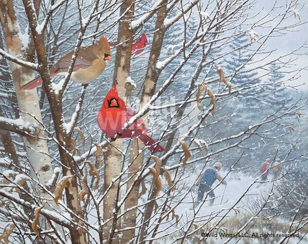 "Michael Sieve Handsigned and Numbered Limited Edition Print: ""Trailside Cardinals"""