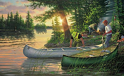 """Michael Sieve Limited Edition Print: """"Back County- Canoe In"""""""