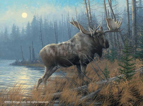 """Michael Sieve Open Edition Framed Print: """"Out of the Mist-Moose"""""""