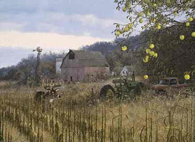 """Michael Sieve Signed Edition Print: """"Approaching the Scrapeline-Whitetail Deer"""""""