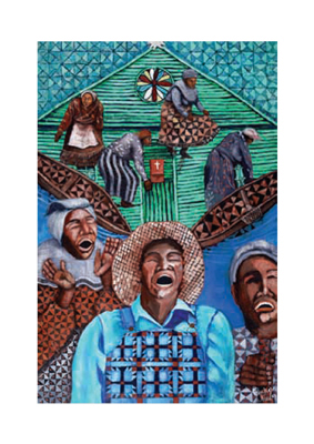 """Michele Wood Limited Edition Pencil Signed Giclee Ed. 500:"""" When the Spirit Moves: Gullah Shouters"""""""