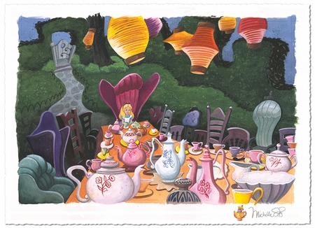 """Michelle St.Laurent Artist  Hand-Remarqued Limited on Hand-Deckled Paper:""""Tea with Alice"""""""