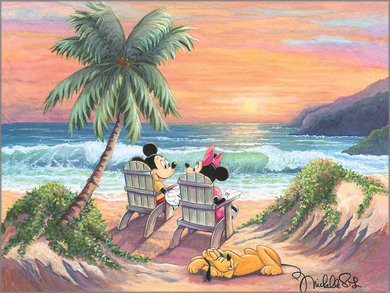 """Michelle St. Laurent Artist Signed and Numbered Hand Embellished Limited Edition Giclee on Canvas:""""Vacation Paradise"""""""