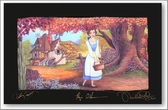 """Michelle St.Laurent Artist Signed Limited Edition Hand Embellished Chiarograph on Black Paper:""""The Flowery Path"""""""