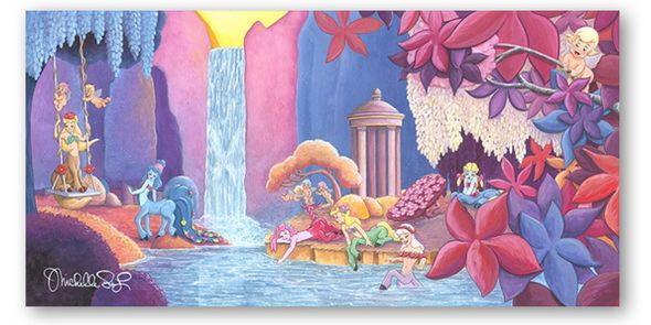 "Michelle St.Laurent Artist Signed Limited Edition Hand Textured Giclée on Canvas:""Garden of Beauty -Fantasia"""
