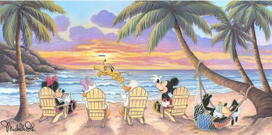 "Michelle St. Laurent Hand Signed and Numbered Limited Edition Embellished Canvas Giclee:""Beautiful Day at the Beach"""