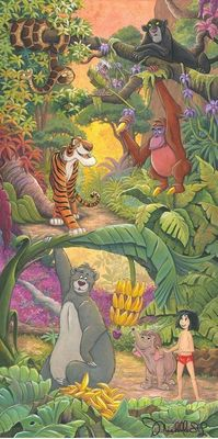 "Michelle St. Laurent Hand Signed and Numbered Limited Edition Embellished Canvas Giclee:""Home in the Jungle"""