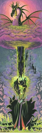 """Michelle St. Laurent Hand Signed and Numbered Limited Edition Embellished Canvas Giclee:""""Maleficen't's Transformation"""""""