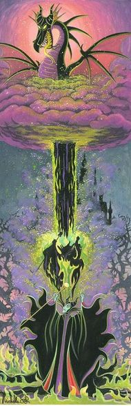 "Michelle St. Laurent Hand Signed and Numbered Limited Edition Embellished Canvas Giclee:""Maleficen't's Transformation"""